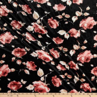 Fabric Merchants Stretch Velvet Multi Roses Black/Mauve