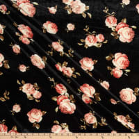 Fabric Merchants Stretch Velvet Roses Black/Rose