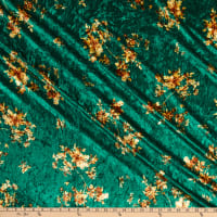 Fabric Merchants Crushed Stretch Velvet Floral Emerald/Gold