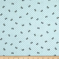 Fabric Merchants Cotton Seersucker Bows Baby Blue/Black