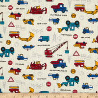 Fabric Merchants Cotton Seersucker Construction Trucks Beige