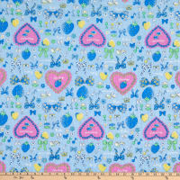 Fabric Merchants Cotton Seersucker Hearts and Bows Baby Blue/Pink