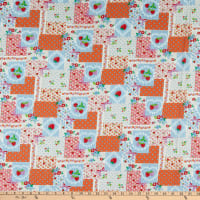 Fabric Merchants Cotton Seersucker Strawberry Patchwork Blue/Orange