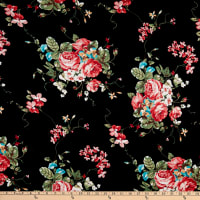 Fabric Merchants Rayon Spandex Stretch Jersey Knit Rose Bouquet Black/Coral