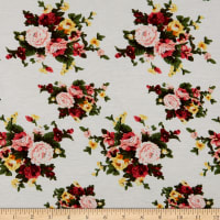 Fabric Merchants Rayon Spandex Jersey Knit Mini Rose Bouquet Ivory/Coral