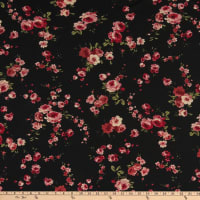 Fabric Merchants Rayon Spandex Jersey Knit Mini Roses Black/Coral