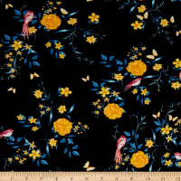 Fabric Merchants Rayon Spandex Jersey Knit Floral Garden Black/Gold