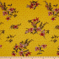 Fabric Merchants Rayon Spandex Jersey Knit Polka Dot Floral Yellow/Coral