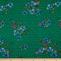 Fabric Merchants Rayon Spandex Stretch Jersey Knit Polka Dot Floral Kelly Green/Blue