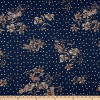 Fabric Merchants Rayon Spandex Jersey Knit Polka Dot Floral Denim/Grey