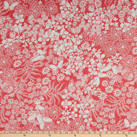 Fabric Merchants Rayon Spandex Jersey Knit Floral Garden Coral/Ivory