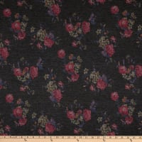 Fabric Merchants Rayon Spandex Stretch Jersey Knit Abstract Floral Charcoal/Rose