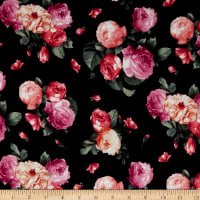 Fabric Merchants Rayon Spandex Jersey Knit Roses Black/Pink