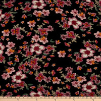 Fabric Merchants Rayon Spandex Jersey Knit Stitched Floral Black/Mauve