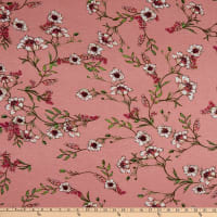 Fabric Merchants Rayon Spandex Stretch Jersey Knit Floral Garden Dusty Pink/Hot Pink