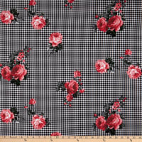 Fabric Merchants Double Brushed Poly Jersey Knit Gingham Roses Black/Pink