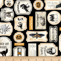 Timeless Treasures Bad Blood Antique Halloween Signs Black