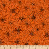 Timeless Treasures Bad Blood Spider Web Orange