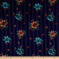 Fabric Merchants Double Brushed Poly Jersey Knit Multi Stripe Floral Navy/Coral