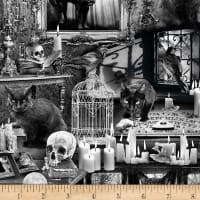 Timeless Treasures Wicked Fog Black Cats In Haunted Houses Black