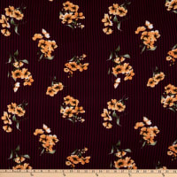 Fabric Merchants Double Brushed Poly Stretch Jersey Knit Pin Stripe Floral Black/Wine/Mustard