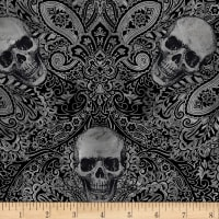 Timeless Treasures Wicked Fog Skull Filigree Black