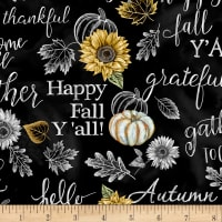 Timeless Treasures Hello Beautiful Fall Chalk Words Black
