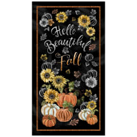 "Timeless Treasures Hello Beautiful Fall 24"" Panel Black"