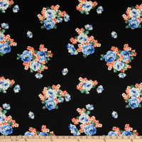 Fabric Merchants Double Brushed Poly Stretch Jersey Knit Rose Bouquet Black/Royal