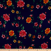Fabric Merchants Double Brushed Poly Jersey Knit Floral Navy/Coral