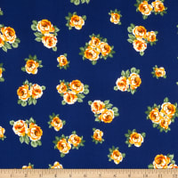 Fabric Merchants Double Brushed Poly Jersey Knit Mini Rose Bouquet Navy/Gold