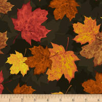 Timeless Treasures Autumn Is Calling Tossed Autumn Leaves Multi