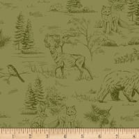 Timeless Treasures Autumn Is Calling Etched Wildlife Green