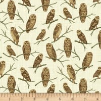 Timeless Treasures Autumn Is Calling Perched Owls Natural