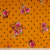 Fabric Merchants Double Brushed Poly Jersey Knit Polka Dot Floral Bouquet Mustard/Fuschia