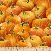 Timeless Treasures Metallic Gather Here Packed Pumpkins Orange