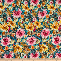 Fabric Merchants Double Brushed Poly Jersey Knit Allover Floral Pink/Mustard