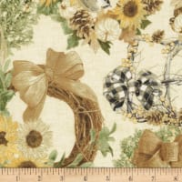 Timeless Treasures Metallic Country Harvest Sunflower Wreaths Cream