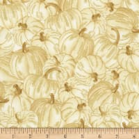 Timeless Treasures Metallic Country Harvest Packed Pumpkins Cream