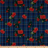Fabric Merchants Double Brushed Poly Jersey Knit Plaid Floral Blue/Coral