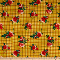 Fabric Merchants Double Brushed Poly Stretch Jersey Knit Plaid Floral Sunshine Yellow/Dark Coral