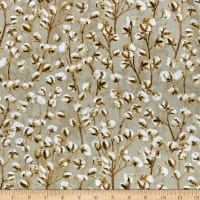 Timeless Treasures Metallic Country Harvest Cotton Blooms Tan