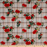 Fabric Merchants Double Brushed Poly Jersey Knit Plaid Floral Ivory/Mocha/Dark Coral
