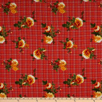 Fabric Merchants Double Brushed Poly Stretch Jersey Knit Small Plaid Floral Red/Mustard
