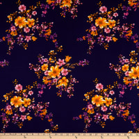 Fabric Merchants Double Brushed Poly Jersey Knit Floral Bouquet Navy/Gold