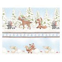 Timeless Treasures Snow Day Winter Animal Stripe Multi