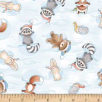 Timeless Treasures Snow Day Animal Snow Angels Multi