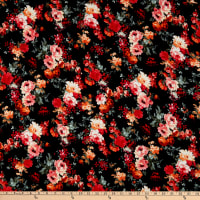 Fabric Merchants Double Brushed Poly Jersey Knit Multi Rose Bouquet Black/Coral