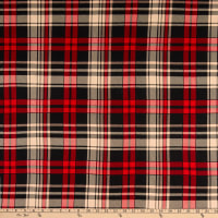 Fabric Merchants Double Brushed Poly Stretch Jersey Knit Plaid Red/Taupe