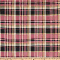 Fabric Merchants Double Brushed Poly Jersey Knit Plaid Mauve/Taupe